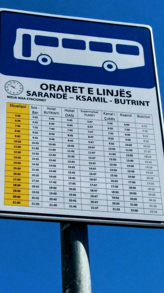 Saranda - Ksamil, orari bus